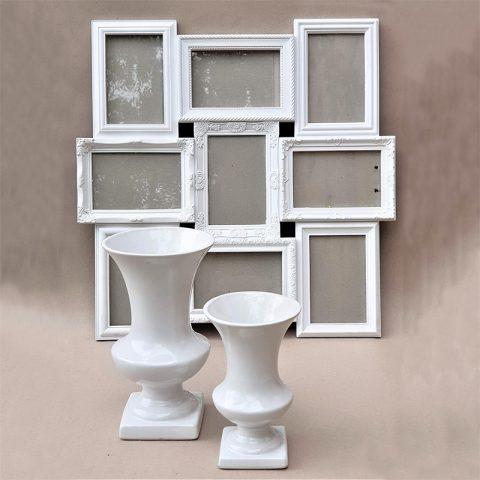 Plastikāta balts foto rāmis un keramikas balta vāzes