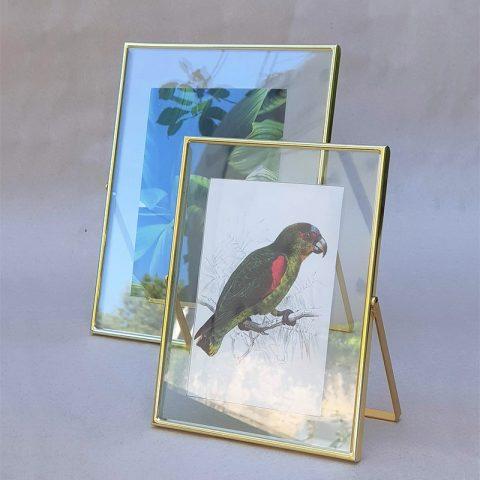 Zeltīts foto rāmis ar stiklu