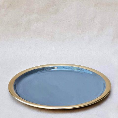 Metāla šķīvis, pelēks ar zelta maliņu